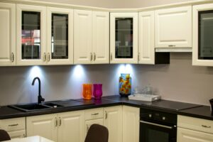 Frosted glass front kitchen cabinets from Houston glass company